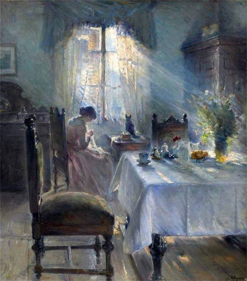 Sewing in an Interior - Bertha Wegmann